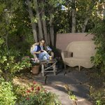 Guests of The Cottage & The Casita enjoy relaxing in the peaceful garden setting.