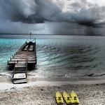 The hotel's pier & kayaks
