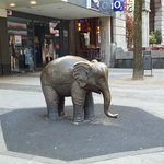 This is not the Schwebebahn but a statue dedicated to the elephant that fell from the Schwebebah