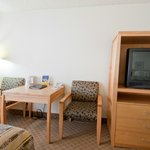 Comfortable work stations in our spacious guest rooms