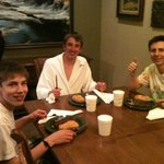 Our boys enjoy an apre ski steak dinner at The Porches!