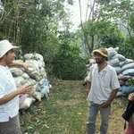 Gabriel explaining true organic coffee farming.