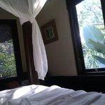 Queen Bed, Crisp white sheets, sun filtering through the trpoical garden, quie