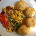 Saltfish and ackee (a fruit that tastes like scrambled eggs) for breakfast at Indies Hotel.