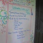Wednesday lunch menu