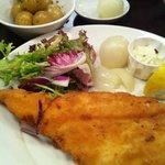 Haddock, new potatoes, pickled onions, mixed salad