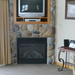 View of the fireplace in the living room