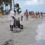 Crew cleaning the Bavaro beach