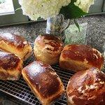 Fresh baked bread for breakfast