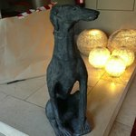 A nice statue of a dog that welcomes you!!