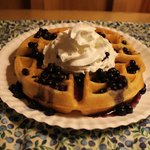 Homemade Waffles with Wild Maine Blueberry Sauce