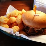 The Horsekick Burger with plain tater-tots