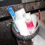 Nel bagno c'era di tutto, dallo shampoo allo spazzolino