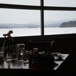 View of the lake from the enclosed dining room...
