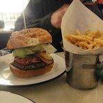 Hamburger and a BIG bucket of fries