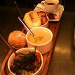 express room service,soup,fish &scallop pie,brulee,bread