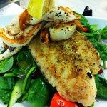 Grilled Seafood Salad with fish, calamari and prawns