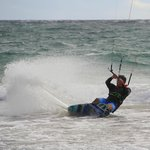 Kiting on a public beach on Nevis