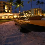 Kona Boys canoe.  Hotel in background