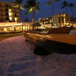 Kona Boys canoe.  Hotel in background