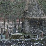 Church ruin and graveyard.