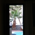 view of Kamari beach from our room