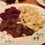 Hungarian Goulash with Spatzle and Red Cabbage