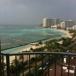 View of Waikiki Beach from our room on 28th floor