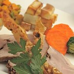 Our fantastic roast pork with seasonal vegetables, apple sauce and crackling