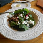yummy spinach salad with walnuts, feta and cranberries