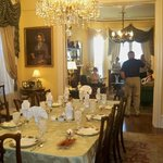 A view of the dining room and living room