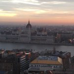 Overlooking River Danube to Hungarian Parliament at Hilton Hotel