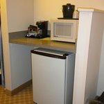 Microwave, Refrigerator, and Coffeemaker in Room 315