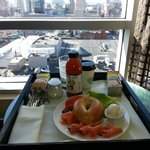 Room service breakfast w/ bagel, smoked salmon, coffee, Honest Tea,