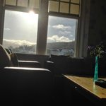 The sun streams into our comfy seating area