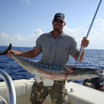 Dallas with a big ole Wahoo deep sea fishing!