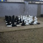 chess set out the back of hotel