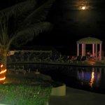 Moon view of pool and gazebo