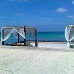 Зона отдыха возле бассейна и кафе Harbor