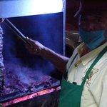fixing the carne asada