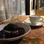 Profiterole with hot Belgian chocolate sauce.