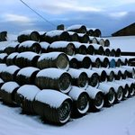 Casks in the snow