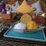 Lemon and mango sorbet