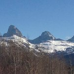View of Tetons on drive from Driggs to Targhee