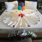 Our bed decorated for our wedding night
