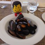 Enjoying plenty of delicious mussels at La Paloma's