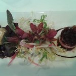 roasted beets with goat cheese and field greens