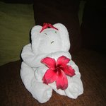 towel decoration in room