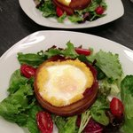 Apple smoked bacon wrapped polenta and egg