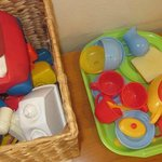 Children's toy box and toy tea set
